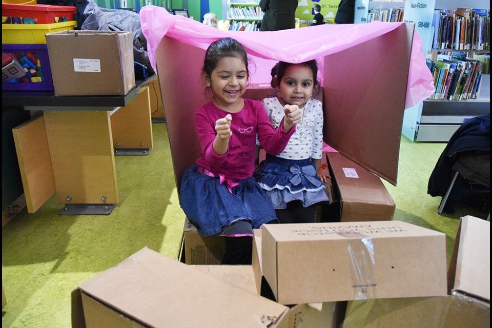 Driving the Cardboard Box Bus, at the Innisfil ideaLAB and Library in Alcona, Innisfil. Miriam King/Bradford Today