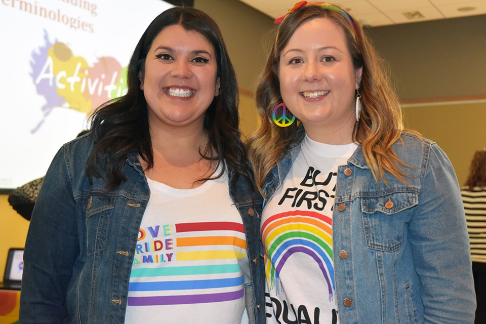 Bradford Women's Group co-founders Jennifer Lloyd, right, and Jes Corbett donned rainbow T-shirts for the group's meeting during Pride Month in June. Miriam King/Bradford Today