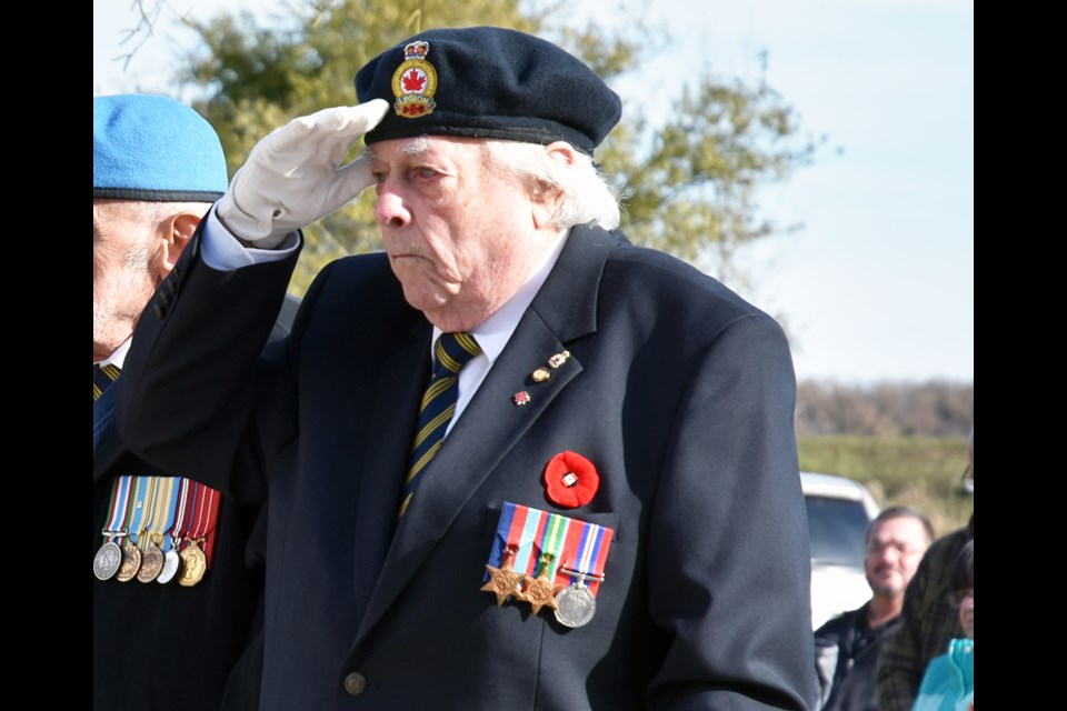 Les Buxton in uniform, at the Bradford legion's wreath-laying ceremony on Nov. 4. Miriam King/BradfordToday