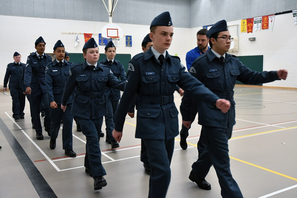 Air Cadets practice their drill in the Fieldcrest gym in Bradford. Miriam King/Bradford Today