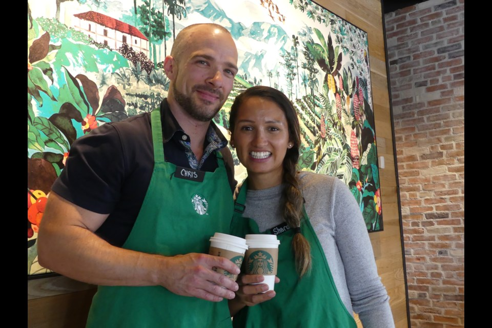 Christopher Davies, left, and Chardee Greenwood love working at Starbucks. Jenni Dunning/BradfordToday