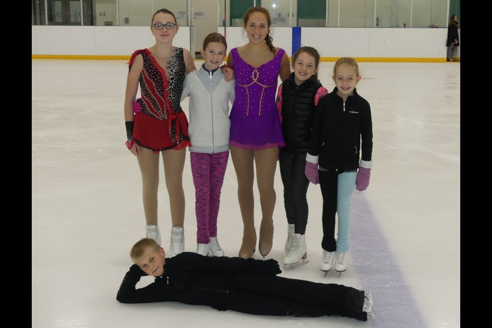 Members of the Bradford & District Skating Club: Alexandra Wry, from left, Ella MacPhee, Allyson Park, Mallory Luhtala, Kate MacPhee, and Damian Obidin (lying down in front). Jenni Dunning/BradfordToday
