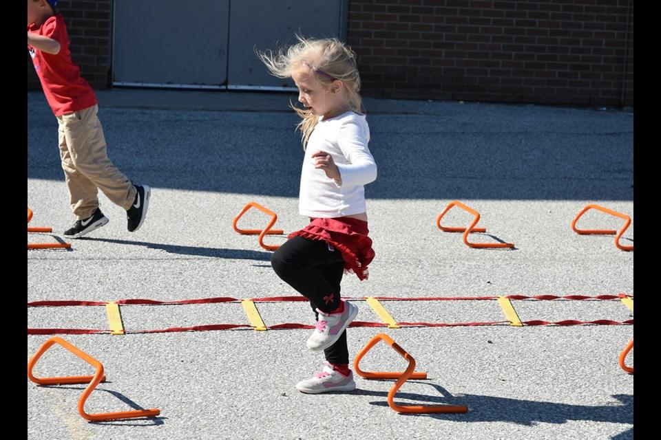Jumping over the mini hurdles. Miriam King/Bradford Today
