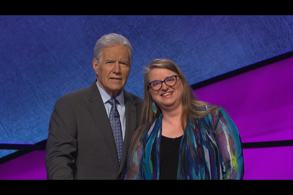 Jeopardy! host Alex Trebek, left, and Sally Leedham. Photo courtesy of Jeopardy Productions, Inc.