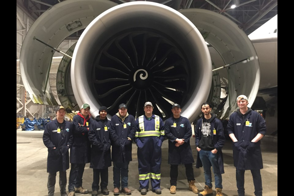 A group of students from Bradford District High School got to job shadow Air Canada aircraft mechanics. Submitted photo