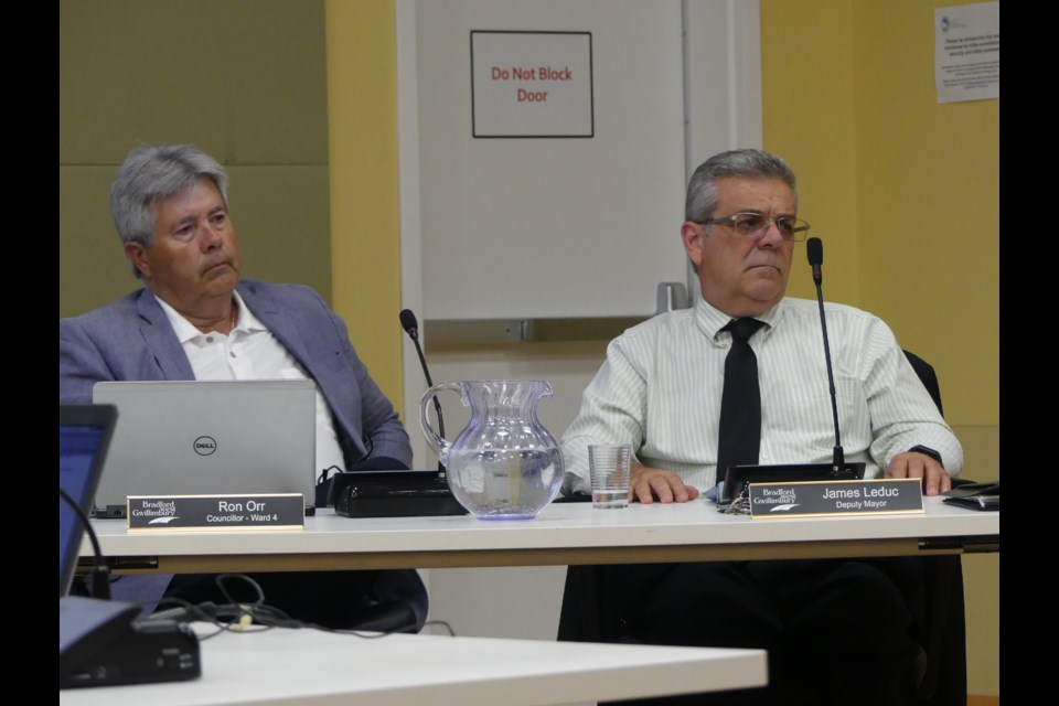 BWG Coun. Ron Orr, left, and Deputy Mayor James Leduc during a council meeting. Jenni Dunning/Bradford Today