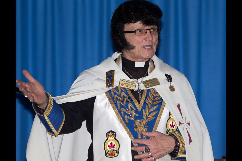 Elvis tribute artist and Ontario Archbishop of Christ the King, Graceland Church in Newmarket, Dorion Baxter is also the Progressive Canadian Party candidate in York-Simcoe. Submitted photo.