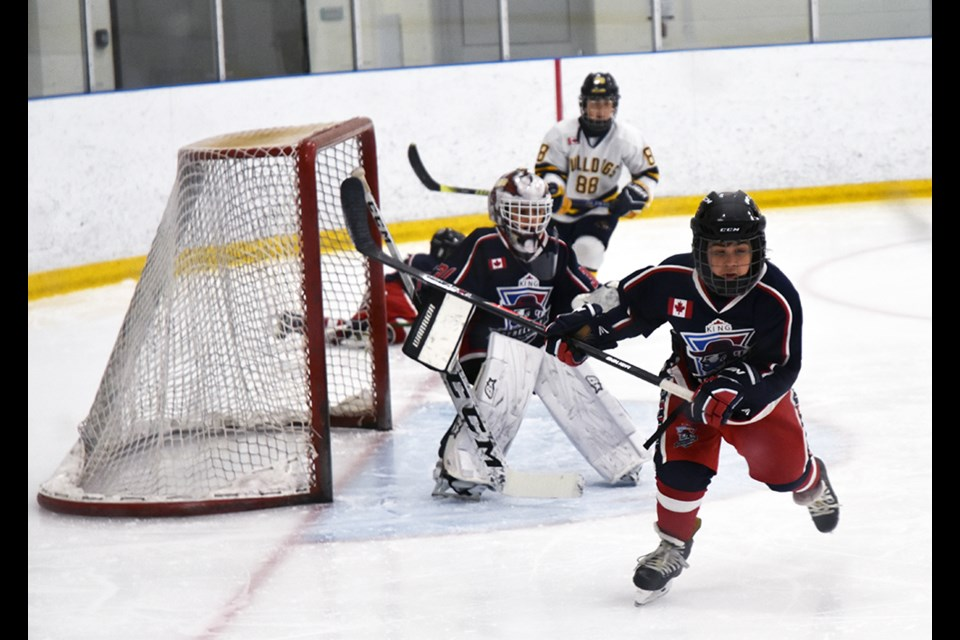 King goalie was hard-pressed in Game 4 in the Novice A York-Simcoe playoffs. Miriam King/Bradford Today