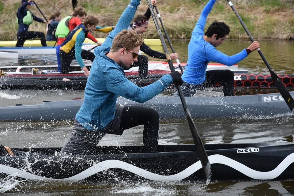 International Canoe Federation sprint club sent top junior kayakers to enter the Marsh Mash's 18-kilometre marathon. Miriam King/Bradford Today