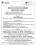 Poster Oct 24 & 25, 2018 - ethics of care for people with brain injury