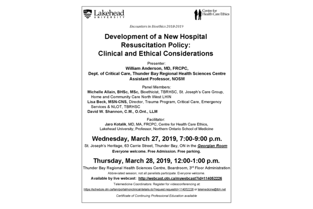 Poster March 27-28, 2019 - Development of a New Hospital Resuscitation Policy