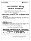 Poster Jan 30 & 31, 2019 - Ethical Decision Making & Nurses in the North