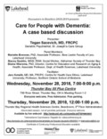 Poster Nov 28 & 29, 2018 - Care for people with dementia