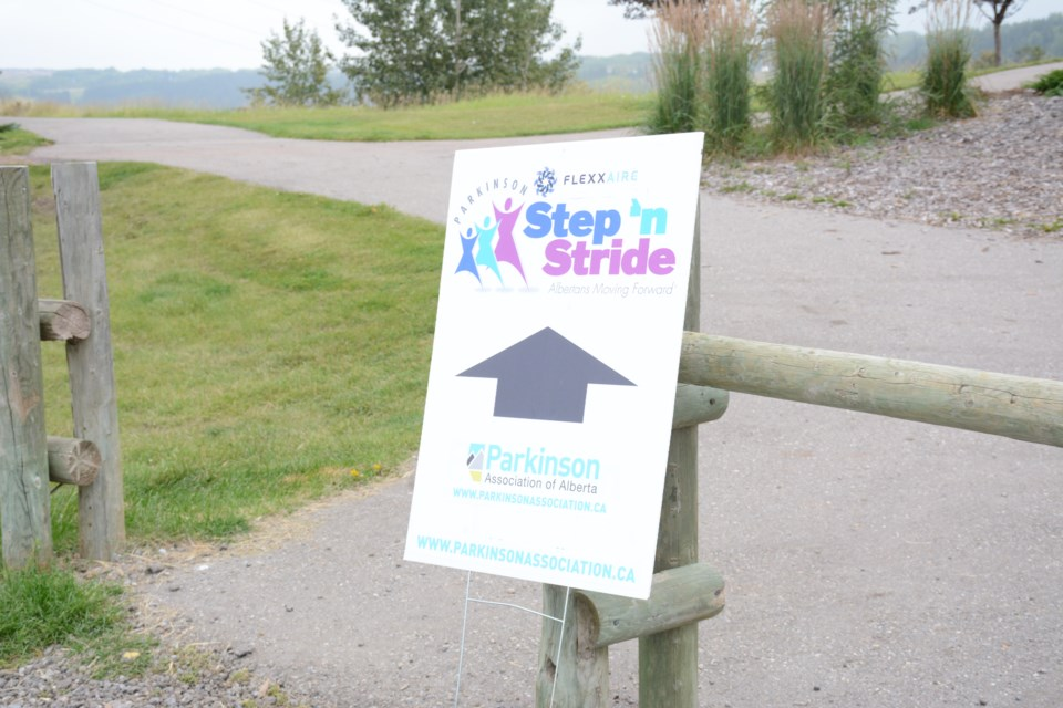 This way to the 7th Annual Flexxaire Step 'n Stride for the Parkinson Association of Alberta.