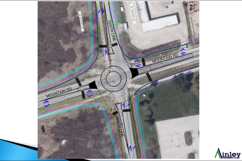 This is Ainley's illustration for the proposed two-lane roundabout at the intersection of Tenth Line and Mountain Road. Contributed photo