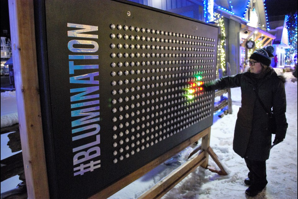 The Light so Bright display acts like a giant Lite Brite as part of the Blumination Dream Trail. Jessica Owen/CollingwoodToday