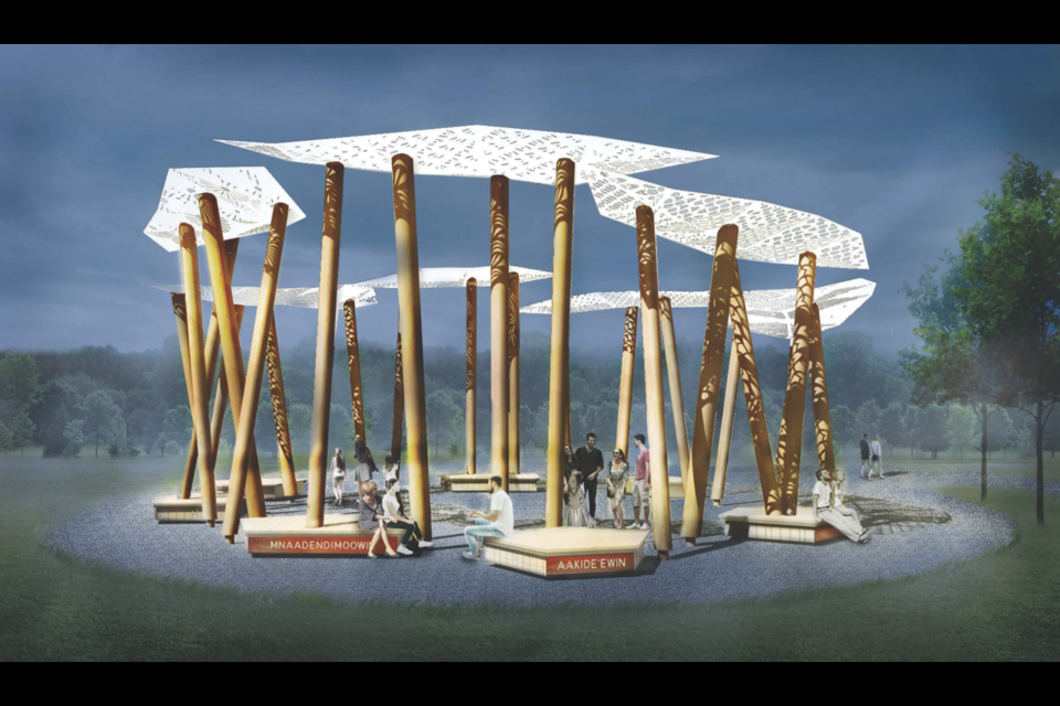The Gathering Circle design is intended to mimic a food forest with a canopy that reflects symbols of the seven Ojibwe grandfather teachings. Contributed photo