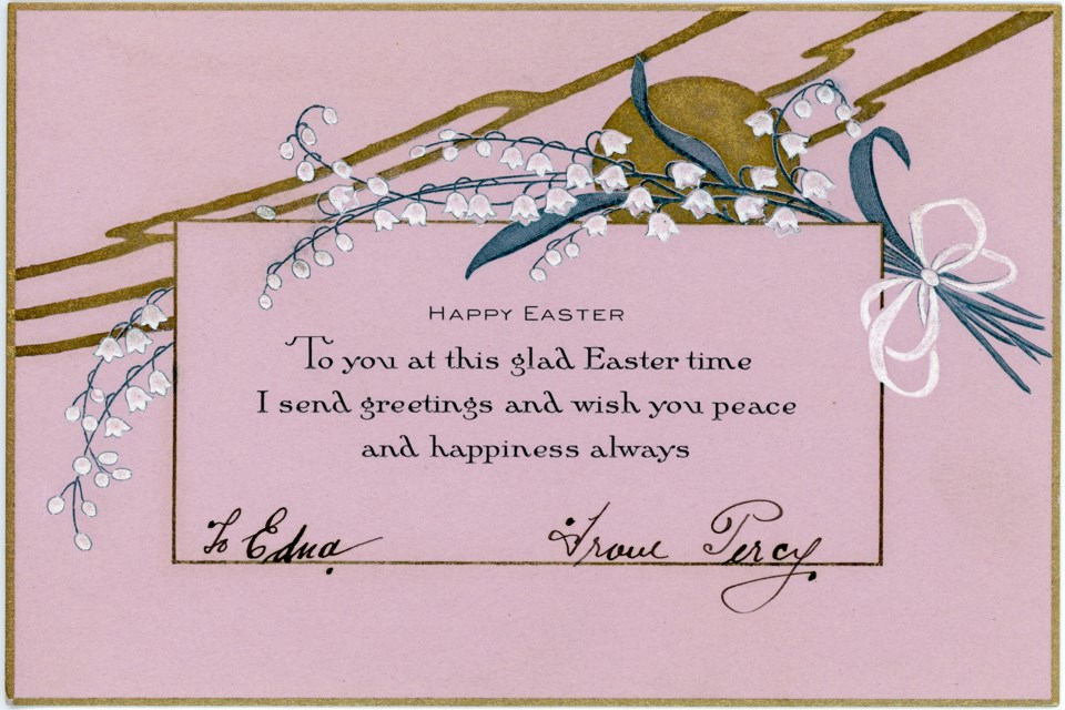 This card was sent to Edna Bendell from a man named Percy in 1926. Photo from the Collingwood Museum Collection 987.19.19a, 987.19.19b