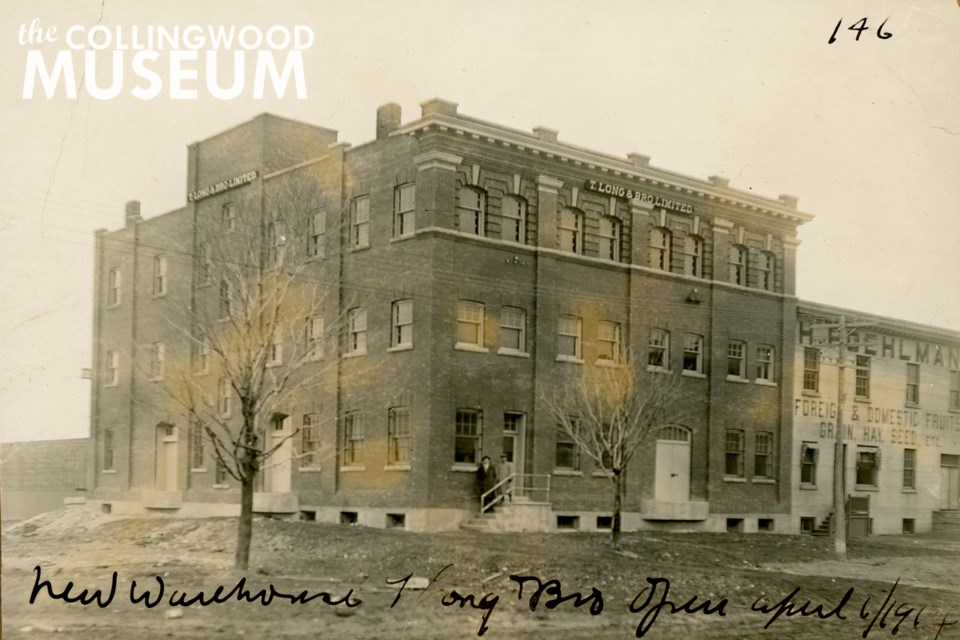 This three-storey brick building was constructed by T. Long and Bro. as a new warehouse, and it opened on April 6, 1914. Photo contributed by Collingwood Museum Collingwood Museum Collection X972.11.1, X2012.205.1, 994.33.9