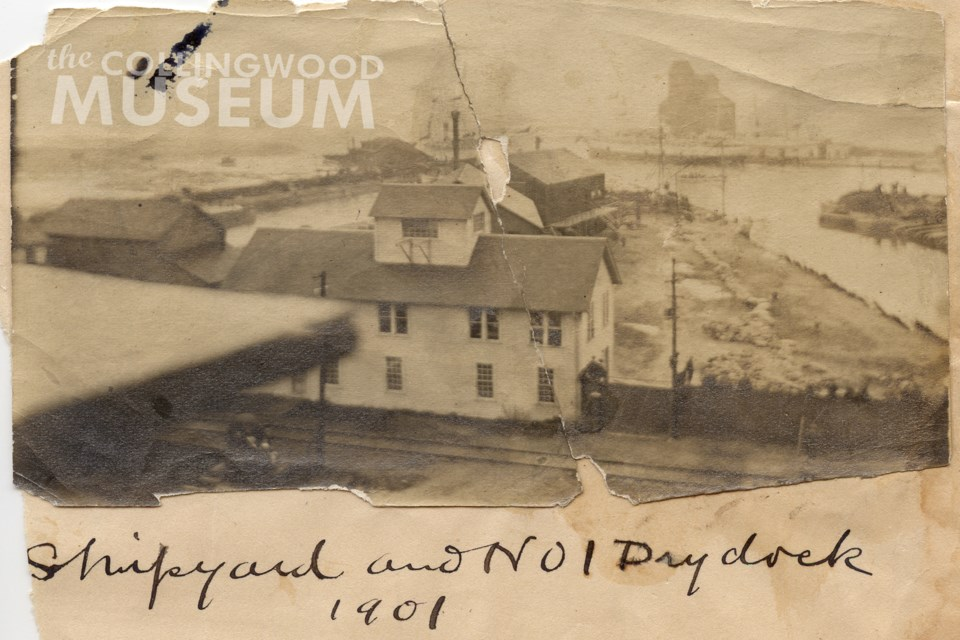 This white wooden building appears to be in a different location in the next photograph. Photo contributed by Collingwood Museum Collection X968. 626.1, X974.816.1