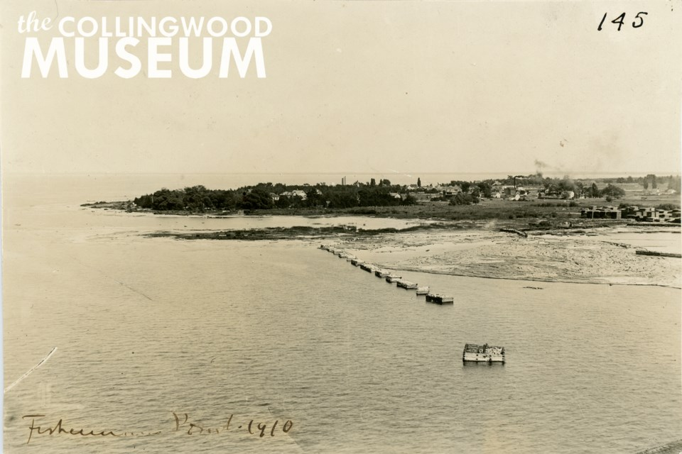 A 1910 photograph taken along what is now known as Heritage Drive. Huron Institute 145, Collingwood Museum Collection X971.888.1, X970.180.1