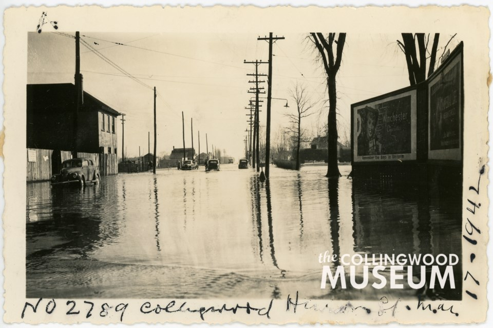 Photo A shows Huron Street in Collingwood on St. Patrick's Day in 1942 during a flood. Huron Institute 2789; Collingwood Museum Collection X973.523.1, X973.524.1, X973.525.1