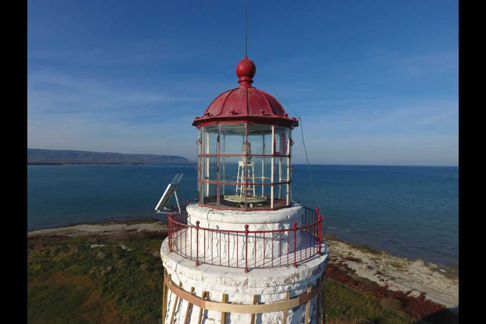The lantern room of the Nottawasaga Lighthouse now features an electric light, but the original was powered by kerosine.