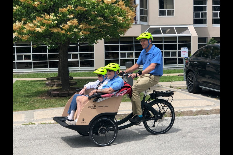 Mayor Brian Saunderson was the first pilot at today's launch event for Simcoe Cycling Without Age, which offers residents a chance at a bike ride even if they aren't physically capable of pedalling a bike anymore. Erika Engel/CollingwoodToday