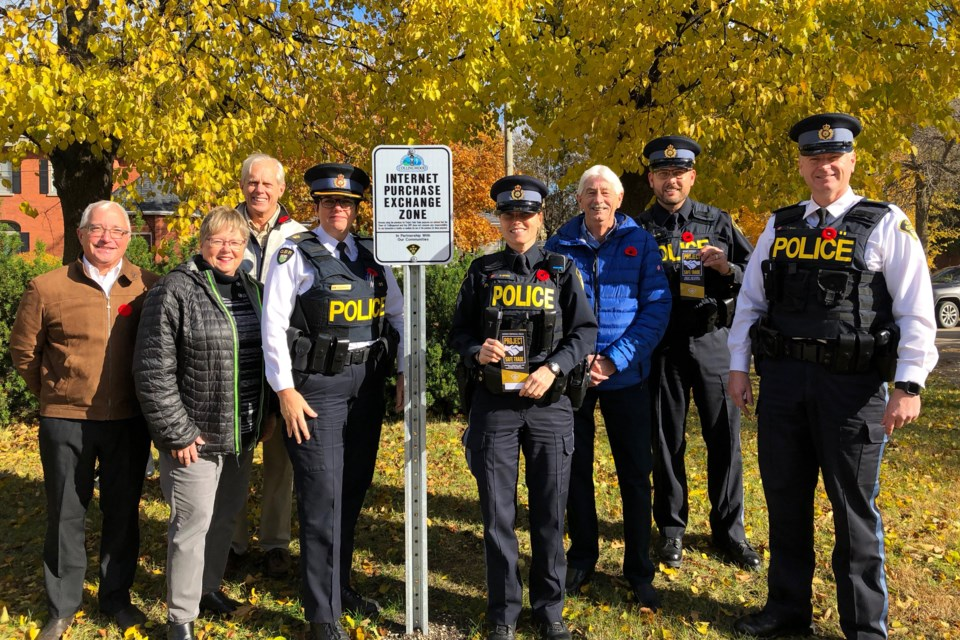 Collingwood OPP and the Town of Collingwood celebrated the launch of Project Safe Trade in Collingwood with an Internet Purchase Exchange Zone located in the parking lot of the Collingwood OPP detachment. 