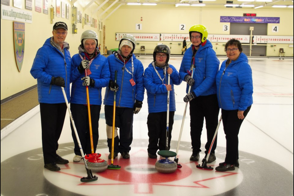 The Collingwood Special Olympics Curling team will be heading to Sault Ste. Marie for the Ontario Winter Games from Jan. 31 until Feb. 3. From left to right are assistant coach Bill Koch, David Vanderwedden, Robert Vanderwedden, Sam Griffiths, Erin McNalty and head coach Carol Benson. Jessica Owen/CollingwoodToday