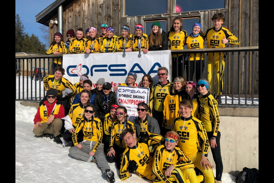The entire CCI Nordic ski team gathers for a photo after OFSAA championships. Erika Engel/CollingwoodToday