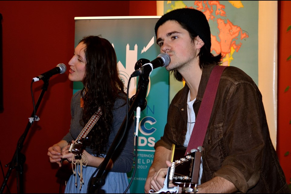 Elivia Cazzola and Braden Phelan of the duo Tragedy Ann perform their brand of Thrift Folk at Planet Bean downtown as part of the Music Weekends concert series Troy Bridgeman for GuelphToday.com