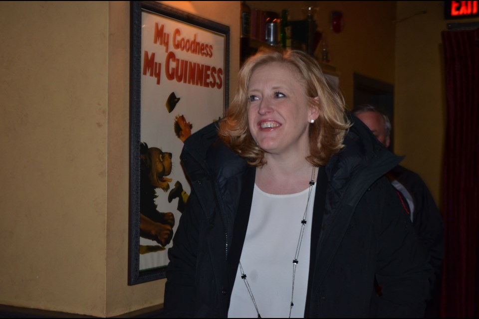 Conservative leadership hopeful Lisa Raitt arrives at Fionn MacCools during whistle stop Thursday.  Troy Bridgeman for GuelphToday.com