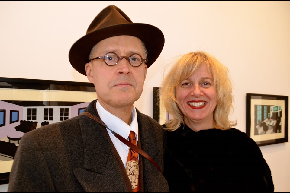 Cartoonist Seth with Renann Isaacs during the opening of The Rooms exhibit at the RICA gallery on Gordon Street. Troy Bridgeman for GuelphToday.com