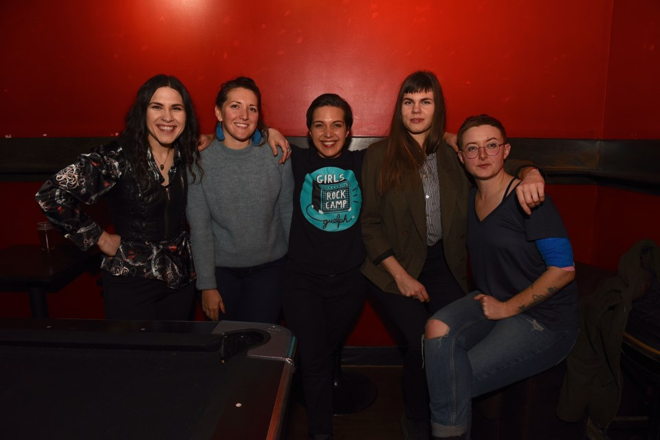 Girls Rock Camp Guelph coordinators Sara Bortolon-Vettor, Alanna Gurr, Emma Bortolon-Vettor, Steph Yates and Emma Howarth-Withers. Troy Bridgeman for GuelphToday