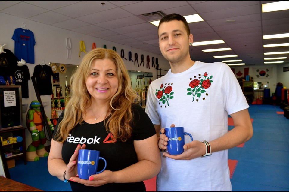 Mother and son team Sophie and Nathan Skoufis from Guelph Family Martial Arts.  Troy Bridgeman for GuelphToday.com