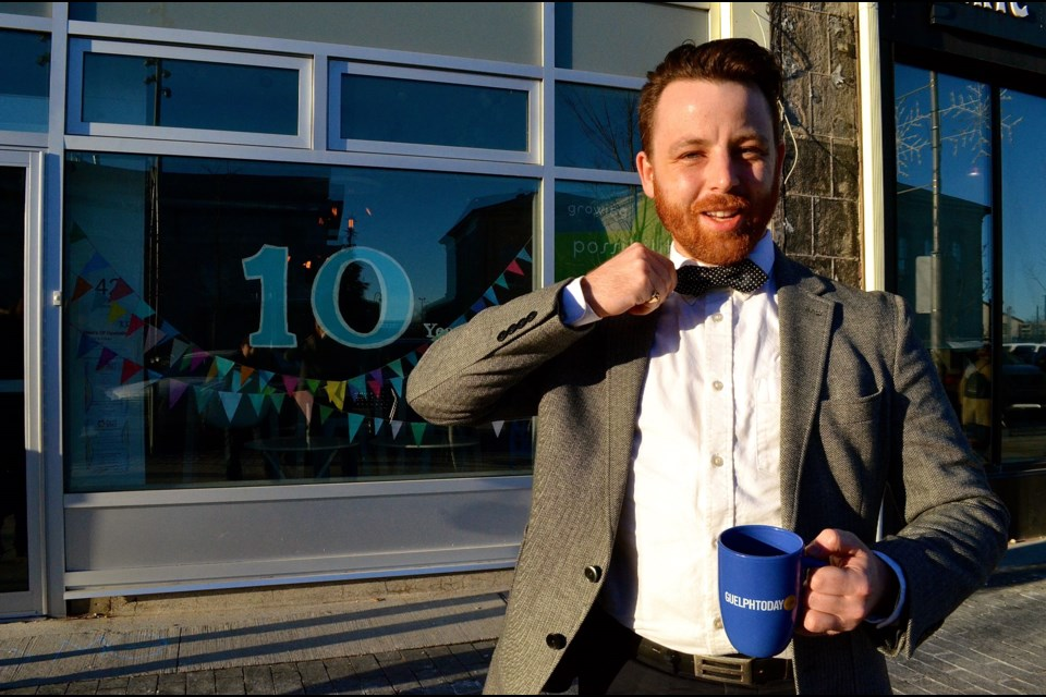 Aaron McCullagh outside 10 Carden where he holds monthly seminars to launch people on their journey toward a Balanced Life.  Troy Bridgeman for GuelphToday.com