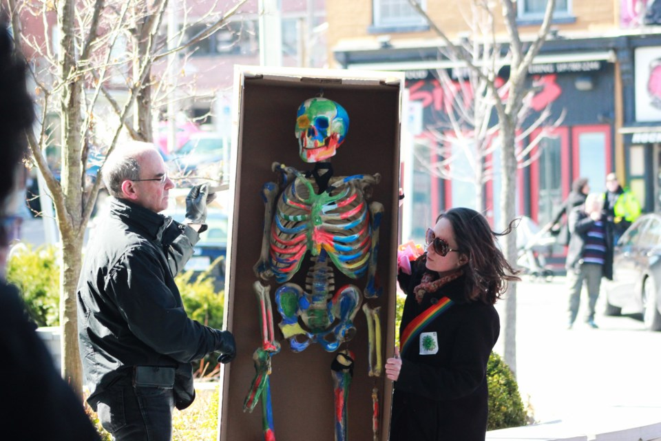 "A skeleton in a ""coffin"" represents the death of humanity. Anam Khan/GuelphToday"