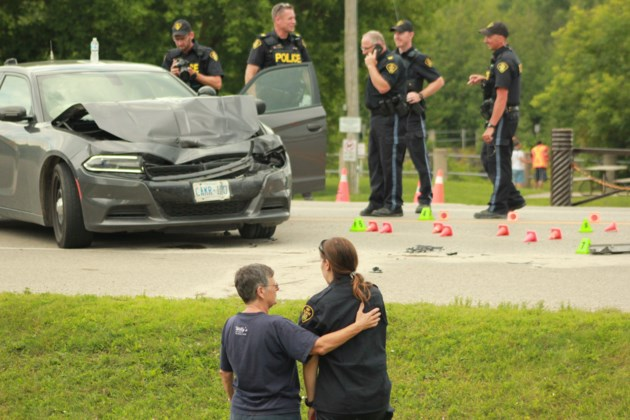 Unmarked OPP cruiser involved in multi-vehicle crash just outside Elora (7 photos)