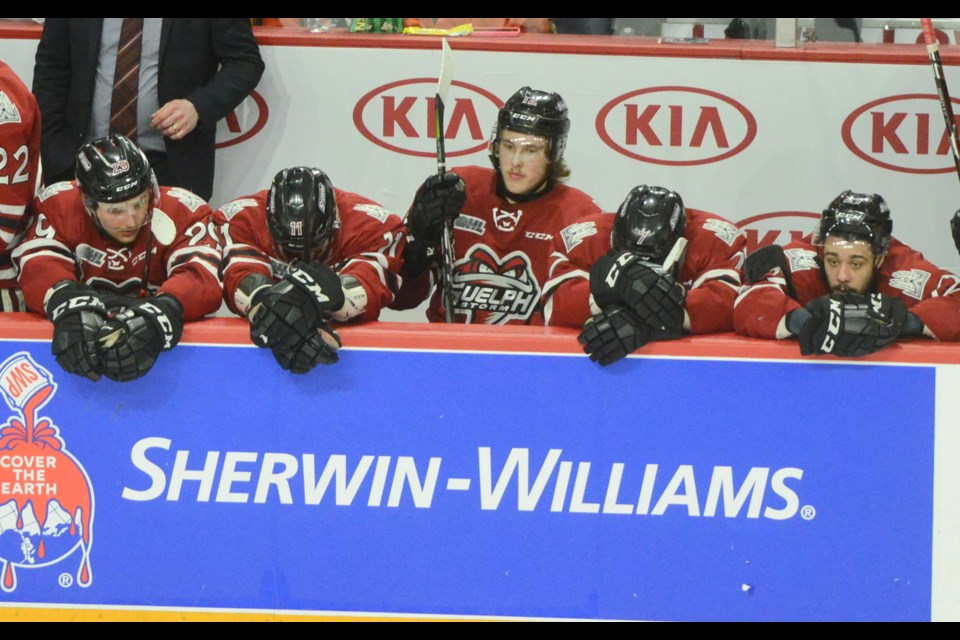 The Guelph Storm bench watches the clock wind down Friday in Halifax as they were eliminated from the Memorial Cup. Tony Saxon/GuelphToday