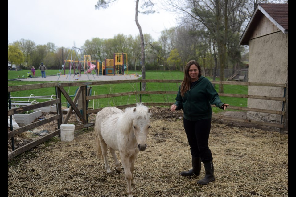 Amy Lalonde stands with Odin in the backyard of her Memorial Crescent home. GuelphToday file photo