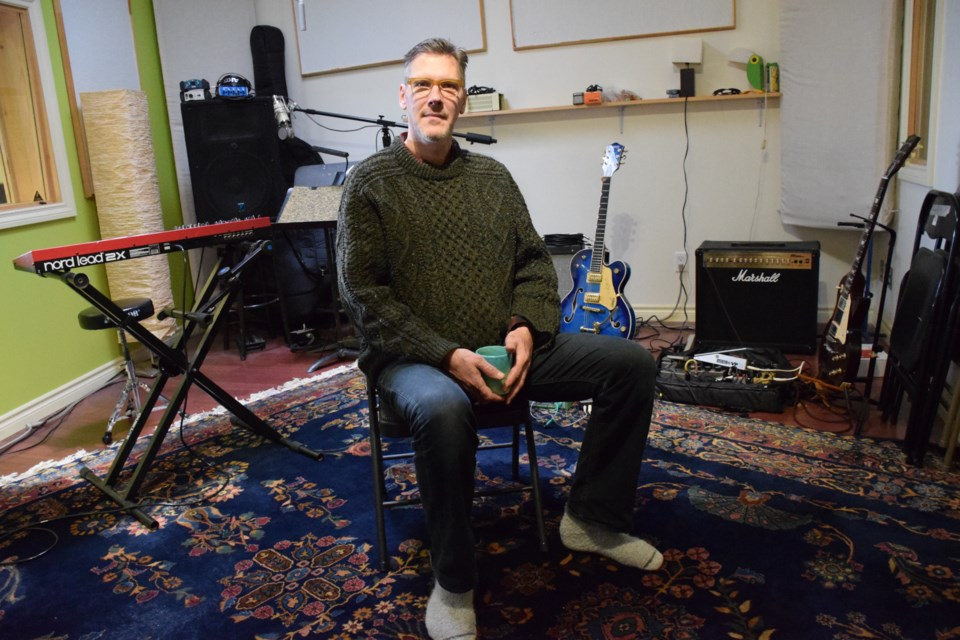 Andrew McPherson in the backyard studio where his new album Bardo was recorded. Musicians agreed not to go gentle on the art side of the recording process. Rob O'Flanagan/GuelphToday