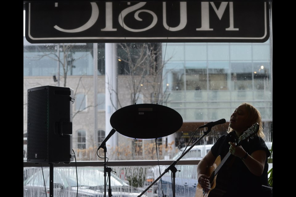 Lynn Jackson performs in Guelph Music on Carden Street as part of Hillside Inside on Saturday. Tony Saxon/GuelphToday