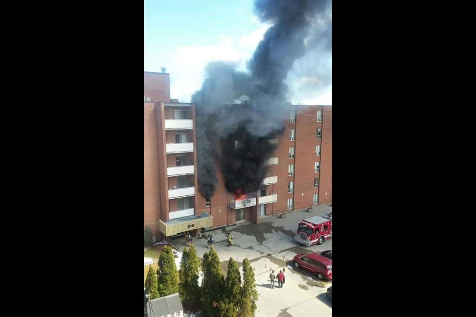 A shot of the fire at from the building across the parking lot. Submitted photo