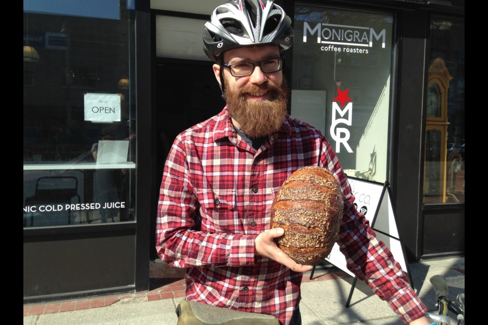 Ryan Ritskes, aka the Bread Bandit, shows off one of his sourdough loaves. Barb McKechnie/GuelphToday