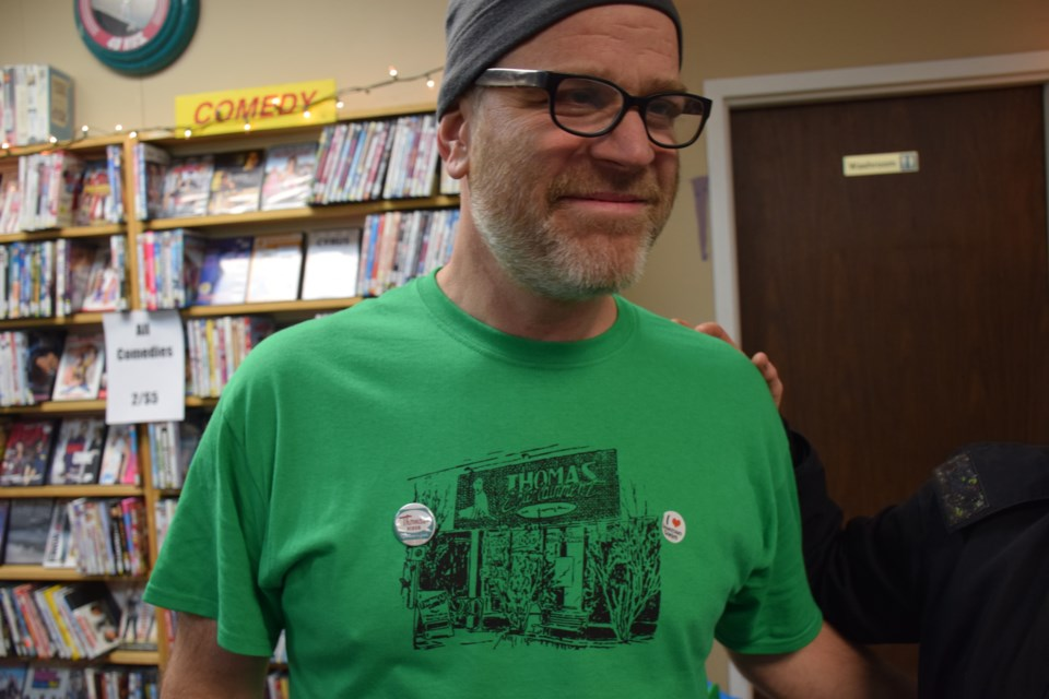 Owner Ian Findlay, with a Thomas Video commemorative t-shirt. Rob O'Flanagan/GuelphToday