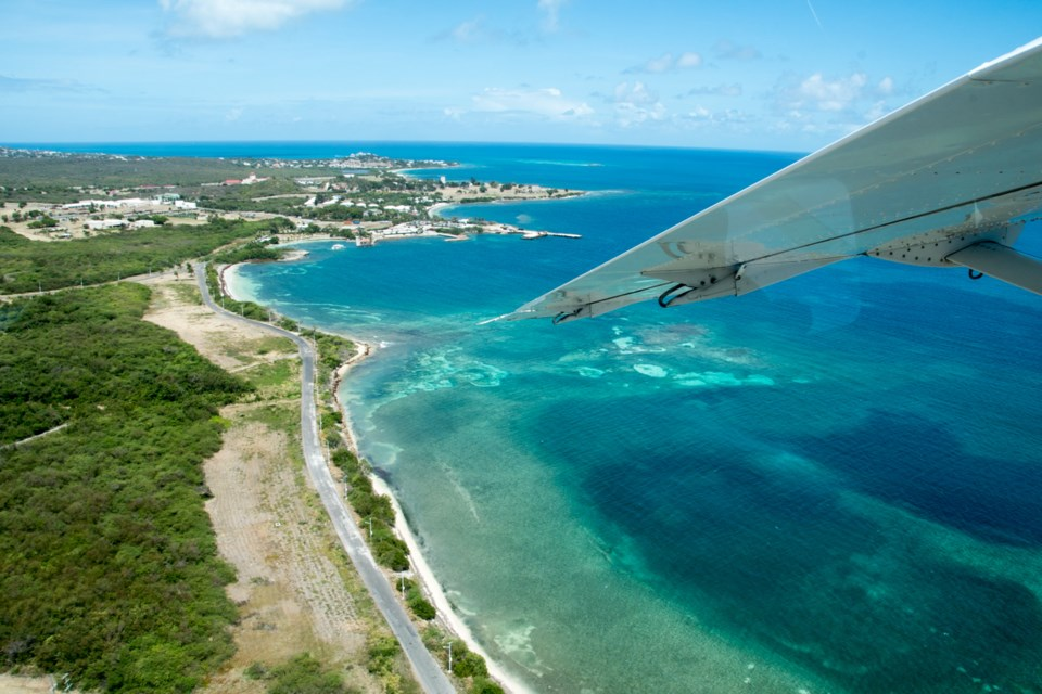 Arriving to the tiny island of Barbuda. Photo by Philip Maher