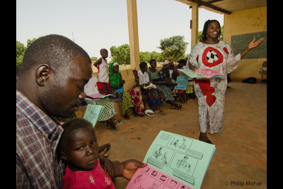 Canadian funded 'Learning through play' workshop teaching the value of play in rural Burkina Faso. Photo courtesy of Philip Maher