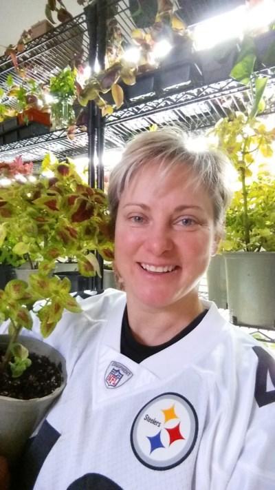 Karen Shlemkevich and coleus plant