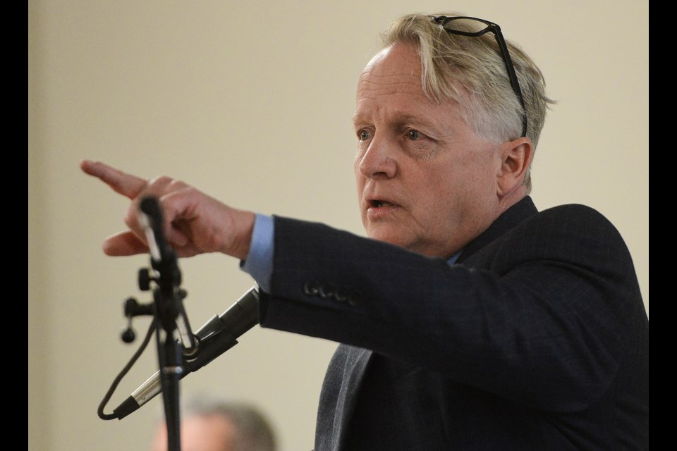 Guelph/Eramosa Township Mayor Chris White speaks at a public meeting on the proposed Xinyi glass plant in May.. Tony Saxon/GuelphToday file photo